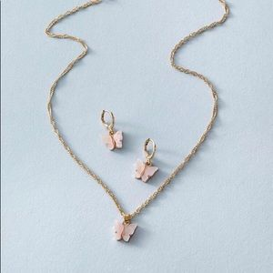 vintage baby pink butterfly necklace earring set